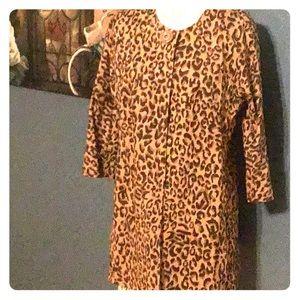 Casual Cheetah print mid length blazer